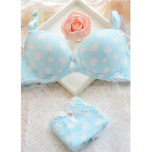 On sale! Bra all-match high quality solid color 100% cotton bra underwear set 100% 3 breasted cotton(China)