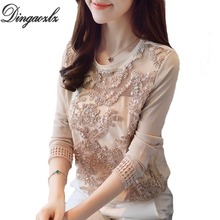 Buy Dingaozlz 2018 Autumn New Women clothing Hollow lace shirt Elegant long-sleeved Chiffon Blouse Patchwork Women Tops for $12.92 in AliExpress store