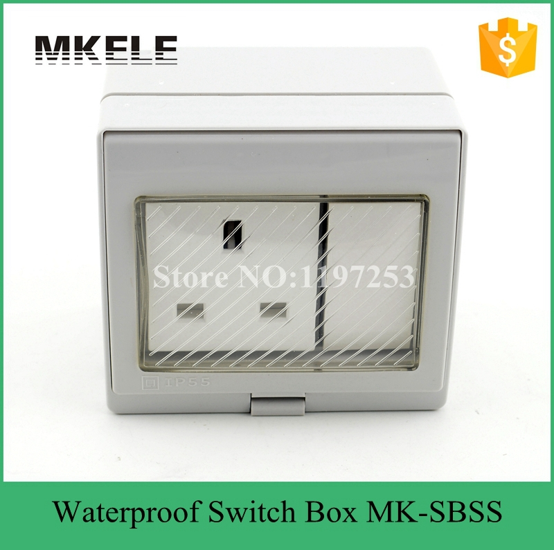 MK-SBSR high qulaity weather resistant Switch socket 13A 250V box,waterproof electrical push button switch pvc gang box<br><br>Aliexpress