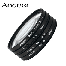 Original Andoer 58mm UV+CPL+Close-Up+4 +Star 8-Point Filter Circular Filter Kit for Nikon Canon Pentax Sony DSLR Camera with Bag