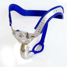 Buy Blue silicone liner arc male chastity belt panty bondage lock stainless steel mens chastity device cock cage metal products