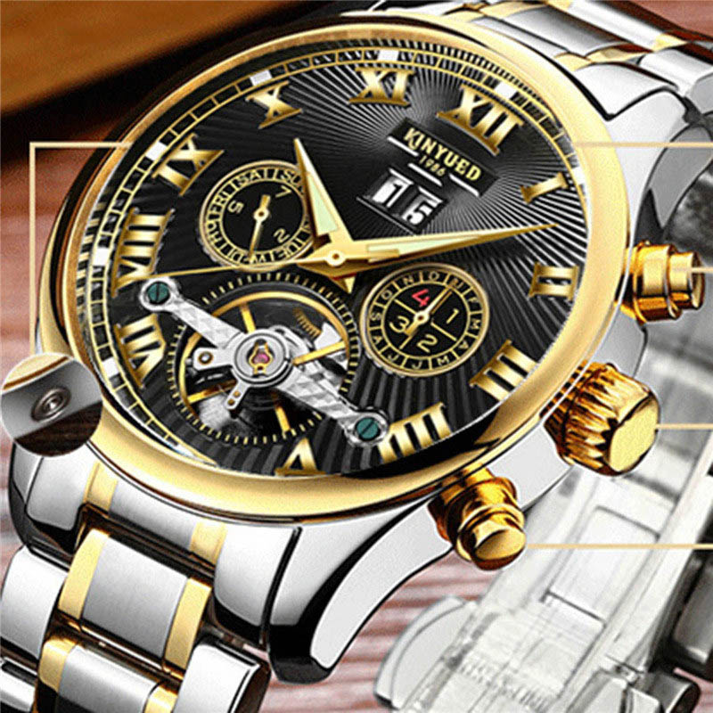 KINYUED Men Mechanical Watch Automatic Stainless Steel Fashion Casual Male Watches Luminous Waterproof Wrist Watch Hot Sale New <br><br>Aliexpress