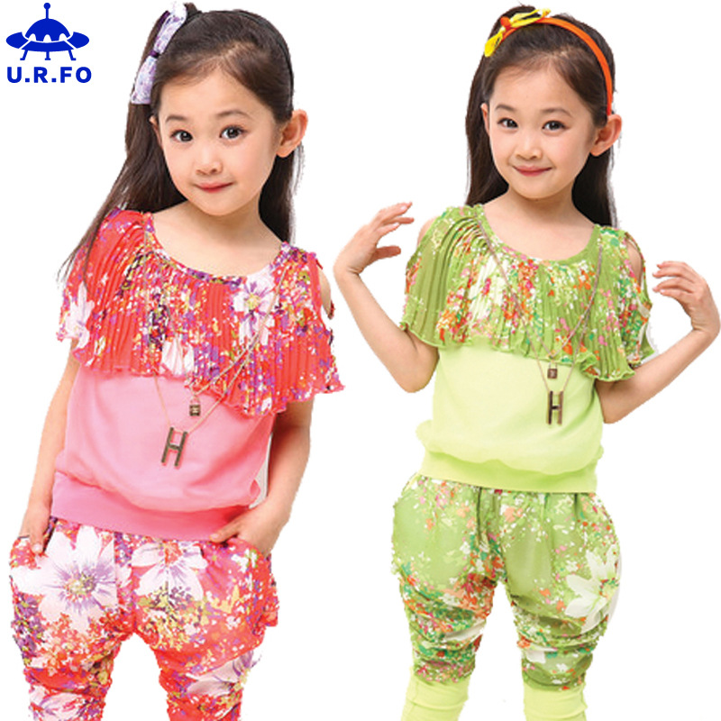 Summer suit girls floral t-shirts  girl short t- p...