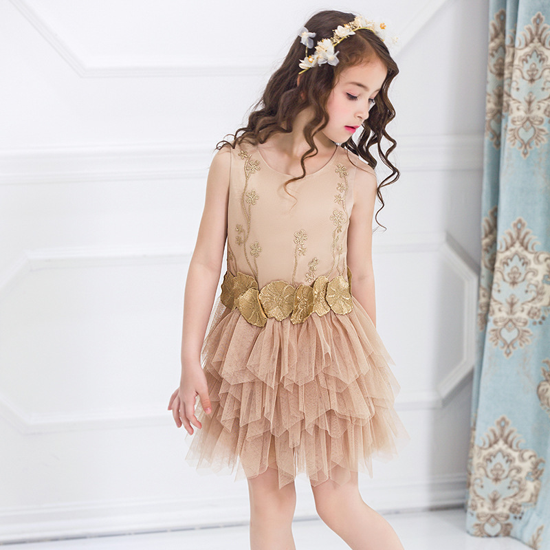 2017 Autumn Children Princess Girl Dress Gilding Network Wedding Dress Thick And Disorderly <br>