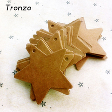Tronzo 50pcs/lot DIY Kraft Paper Tag Star Hang Tag Wedding Decoration Paper Cards Gift Bag Wrapping Supplies
