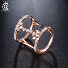 ORSA JEWELS 2017 Fashion Rose Gold/Silver Color Unique Geometric Design Rings Paved 43 Pieces AAA Zircon for Women OR149(China)