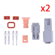 2 Sets Kit 1.6mm Series Deutsch DT 2-Pin Sello Auto Impermeable del Alambre Eléctrico Enchufe Conector AWG