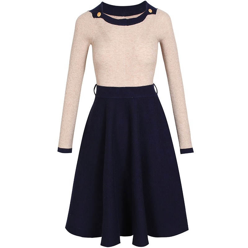 KENVY Brand Fashion High-end Spring Autumn O-neck Stitching Slim Long Sleeve Elastic Knitted DressÎäåæäà è àêñåññóàðû<br><br>