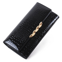 Fashion alligatore pattern wallet Genuine Leather women Trifold Crocodile Wallet Coin purse female Long card holder Wallet