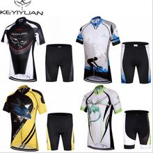 Hot KEYIYUAN Children Cycling Bike Jersey Shorts Sets Kids Cycling Clothing Team Bicycle ciclismo Boys Girls mtb Shirts Top Suit