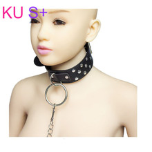 KU S+ Erotic Fetish Bondage Black Leather Neck Collar SM Bed Restraints For Adult Sex Toy Couples Club Role Play Flirt Lingerie