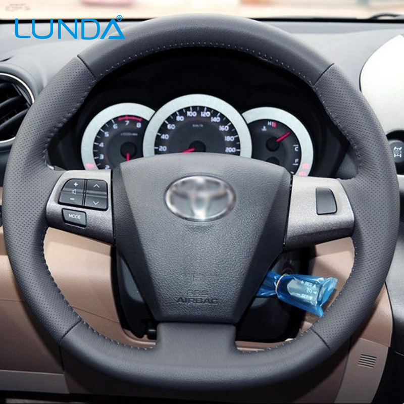 LUNDA Black Leather Hand-stitched Car Steering Wheel Cover for Toyota Corolla 2011 2012 2013 RAV4 2011 2012(China (Mainland))