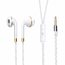 Wired Stereo Sound Effect Earphone Golden White Color Magnet Ear Hook Metal Circle Headphone With Microphone Volume Control(China)