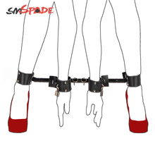 Buy SMSPADE 2 Colors Bondage Expandable Metal Spreader Bar 4 Adjustable Leather Cuffs Set,Couples Adult Sex Toys Products