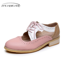 women summer leather oxford sandals big woman shoes US 11 round toe handmade pink white black 2017 oxfords shoes for women(China)
