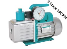 Double Stage Rotary Vane HVAC Electric Vacuum Pump 220V at 10CFM + Precision Guage 0.3Pa Ultimate Pressure