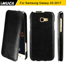 For Samsung Galaxy A5 2017 Case iMUCA Luxury PU Leather Flip Back Cover Case For Samsung A5 2017 A520 Cover Mobile Phone Case(China)