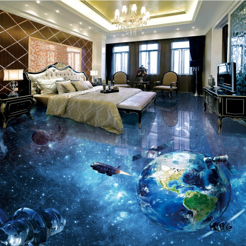 Free Shipping Cosmic Galactic Globe 3D flooring painting wallpaper nursery kitchen waterproof PVC floor mural<br>