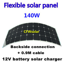 light weight bendable solar panel 140Watts, semi flexible solar panel with Back connection and 0.9M cable length,for 12V battery