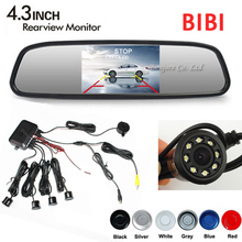 Car Dual Core CPU 4 Parking Sensors LED Light Night vision Rear view Camera Back up with 4.3 Auto Mirror Monitor TFT LCD Digital(China)