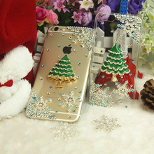 Rhinestone Case Cover For Iphone 5 5s 4 4s 6 6s 6splus 7 7plus Diamond Hard Back Mobile phone Case Cover Protective Christma(China)