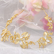 Vintage gold crystal butterfly leaf pearl bridal hairbands wedding hair accessories soft chain glass rhinestone flower headdress