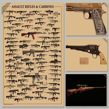world famous gun Daquan / military fans Poster / kraft paper / decorative painting  paper posters wall sticker p008