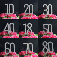 2ROWS Wedding Cake Topper Marriage Anniversary Number Rhinestone Crystal Birthday Party Decoration Kids Supplies 1pcs