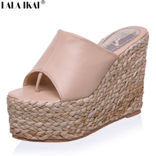 2016 Women Sandals Rope Heels Shoes Women Slippers Platform Flip Flops Women Espadrille Wedges Sandals Chaussure Femme XWG0054-5