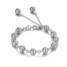 Fashion Silver Heart Charms 925 Logo Beads Hollow Bracelet Bangle for Women DIY Bracelets Women Pulseira Jewelry Gift
