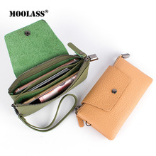 2017 New Genuine Leather Women Short Wallet  Multi-Functional Cowhide Coin Purse  Zipper Credit Card Holder With Wrist Strip