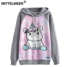 MITTELMEER 2018 Autumn winter Harajuku printed Hooded Sweatshirt printing cartoon Unicorn owl cat Hoodies girls women Christmas(China)