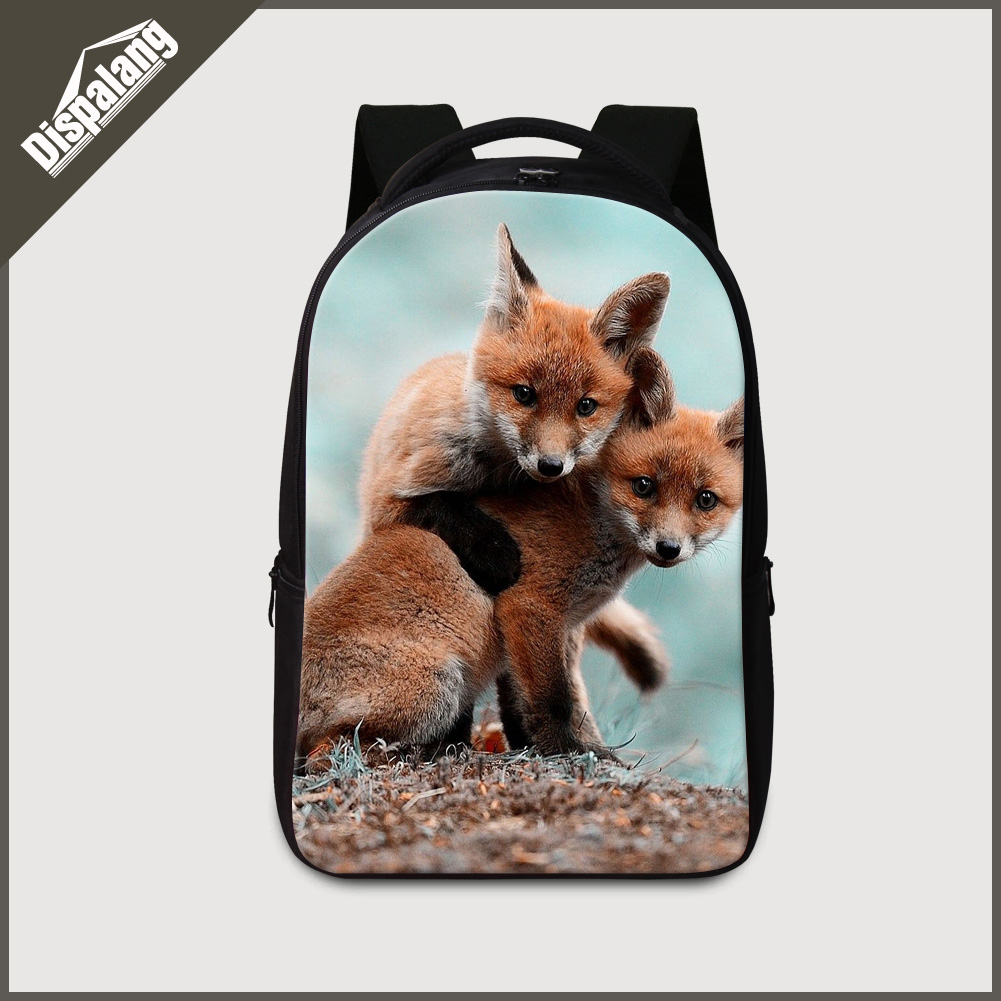 Dispalang high class students laptop backpack fox printed large back to school backpacks for teenager boys wolf bookbags bagpack<br>