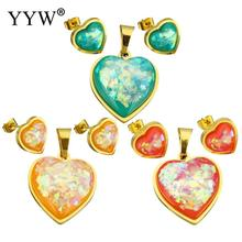 Resin Jewelry Sets pendant & earring Stainless Steel with Pink Shell & Resin Heart gold color plated Sold By Set