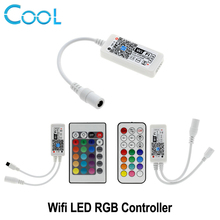 WiFi LED RGB Controller Mini DC12V With 24Key IR / 21Key RF Remote Control For RGB LED Strip Smart Phone APP Control(China)