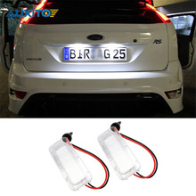 2X No Error 18LED SMD3528 Car LED License Plate Lights for Ford Focus DA3 DYB Fiesta JA8 Mondeo Mk4 Mk5 C-Max S-Max Kuga Galaxy(China)
