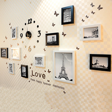 12 Pcs Home Decoration Wooden Photo Frame Combination with A Acrylic Clock Home Wall Photo Frames for Picture Decoration Frames
