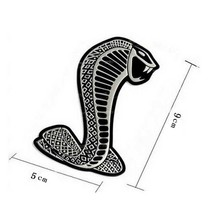 1Pcs (Silver) 3D Metal Chrome Sticker Car Grille turning logo Cobra emblem for Ford Shelby Mustang Carros Car Styling