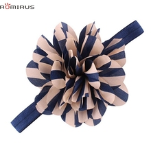 ROMIRUS Modern 2017 Baby Girl Hair Accessories Headband Striped Flower Toddle Infant Newborn Elastic Hair Bands bb E49