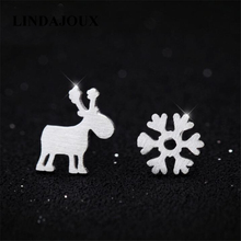 LINDAJOUX Cute Matte Deer Snowflake 925 Sterling Silver Stud Earrings For Women 5*8MM Small Studs Earring Wholesale Price(China)