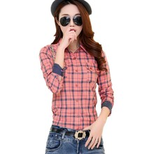 Women Plaid blouses womens casual shirts girl cotton Slim shirt long sleeve shirts womens blouse cheap clothes hot sell  HS1430
