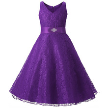 2017 Lace Children Flower Girls Dresses for Party and Wedding Big Kids Prom Dresses Evening Wear Purple Dress Girl Frocks(China)