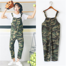 2017 Summer New Rompers Camouflage Denim Harajuku Vintage Casual Loose Women High Waist Pockets Jeans Stretch Overalls Pants