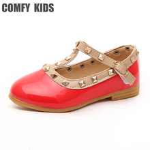 Baby Leather shoes child girls sandals shoes for girls leather princess shoe kids rivets flat casual fashion leather shoes(China)
