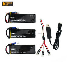 7.4V 2700mAh 10C Battery + 1 In 3 Cable + USB Charger Set For Hubsan H501S H501C X4 RC Quadcopter
