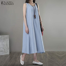 Buy Oversized 2017 Summer ZANZEA Women Casual Loose Dress Ladies Retro O Neck Sleeveless Mid-calf Solid Dresses Vestidos Plus Size for $9.79 in AliExpress store