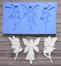 Three angels flower fairy silicone fandont birthday cake decoration chocolate  biscuits mold
