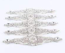 (3pcs/lot)Chic Crystal Pearl Rhinestone Appliques Patch Hot-Fix Beaded Dress/Sash/Hat/Shoes Applique Bridal Motif Patch Trim