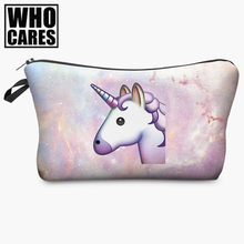 unicorn 3D printing Cosmetic Bag women makeup bag 2017 Fashion who cares cosmetic cares trousse de maquillage neceser