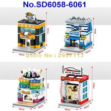 SD6058-6061 4pcs City Mini Street Digital Store Video Game Room Sports Auto Repair Shop LED Building Block Brick Toy